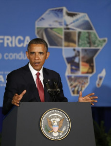 U.S. President Barack Obama delivers remarks at a business leaders forum in Dar es Salaam