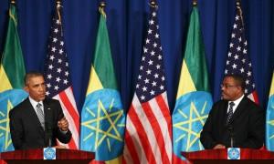 Barack Obama speaks on Monday as Ethiopian prime minister Hailemariam Desalegn looks on.