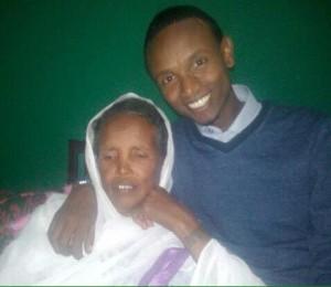 Befeqadu Hailu with his mother