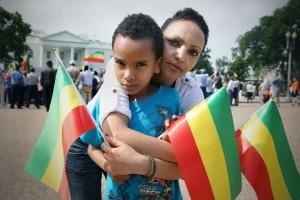 Ethiopian mother Serkalem Fasil with her child Nafkot